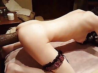Young Girl with 12 inch King Cock dildos in pussy