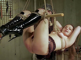 She screams while she is tied up and he is playing with her pussy