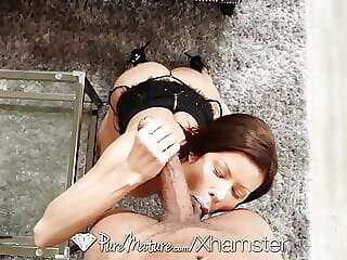 PUREMATURE MILF gives wet pussy wisdom all over BIG DICK