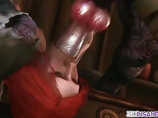 Redhead Triss fucked in threesome
