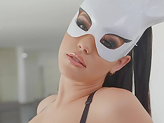 Kinky brunette Alina Lopez sprayed with cum on face wearing a mask