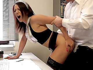 Naughty maid Natalie Hot ass fucked after giving a blowjob