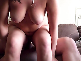 Brunette chubby housekeeper getting smashed hard on the couch
