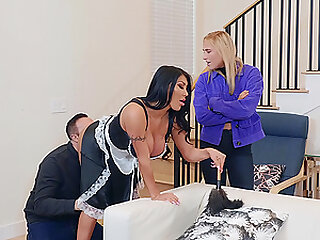 Curvy MILF maid August Taylor fucked from behind and swallows cum
