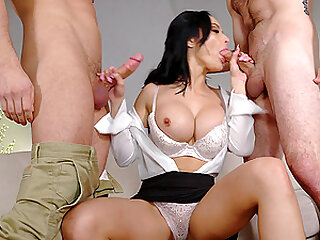 Crystal Rush caught stealing and fucked by two studs who give her cum