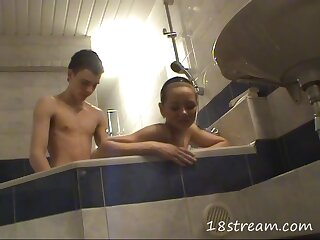 Doggystyle teen sex in the bathtub with a cutie