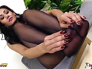 Hot Mistress Alexya handjob and footjob in black pantyhose