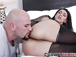 Busty Valentina Jewels oiled up for rough big ass banging