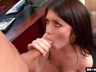 Short skirt hottie Ashlyn Rae sucks hard cock
