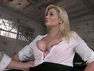 Perverted drives can't resist fucking big boobs and juicy cunt of sexy milf Katy Jayne
