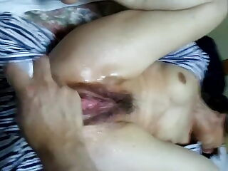 furin wife squirts with dildo in the pussy and ass