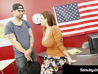 Plump Professor Sara Jay Fucked & Cummed On By Hard Student!