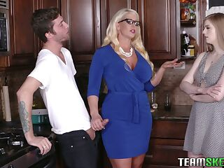 Young dude will never forget crazy threesome sex with girlfriend and her step mommy Alura Jenson