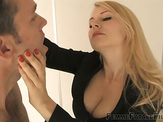 Strict ladyboss Mistress Eleise de Lacy is punishing submissive dude right in the office