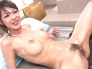 Japanese with big tits wants to load her hairy cunt with sperm