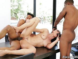 Rough anal and oral with two black males