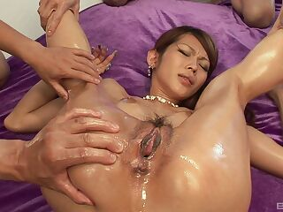 Japanese slut deals a lot of dick in her creamy holes