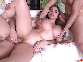 Voluptuous hottie jizzed on face after a strong trio fuck