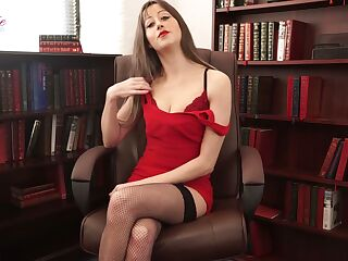 Whorish secretary Jenny is telling erotic stories in sexy lingerie and stockings