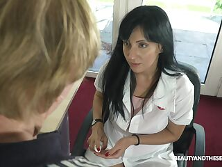 Young female urologist Sher Vine knows how to get an erection