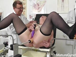 Voyeur doctor secretly films chubby mommy on her gyno exam