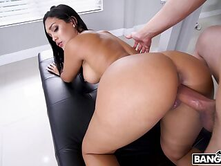 Delicious babe Alina Belle gets her ass oiled up and slammed hard