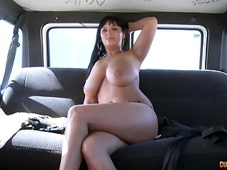 Hardcore fucking in the van with a chubby amateur brunette