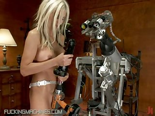 Busty Blonde MILF Fucked By a Human-Shaped Machine