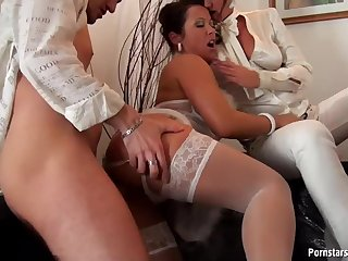 Fancy Babes Have Some White Orgy Sex With A Horny Cock