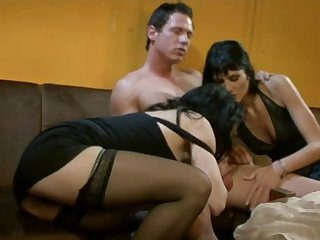 Busty Brunette Milf Gets Their Butthole Jammed In A Sweaty Threesome