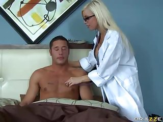 Smoking Hot Doctor With Big Tits Gets A Facial From A Horny Patient