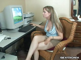 An eye-catching office assistant taking a break to drill her pussy with a dildo