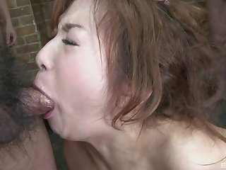 Cum loving Japanese girl blows all the guys and gets facials