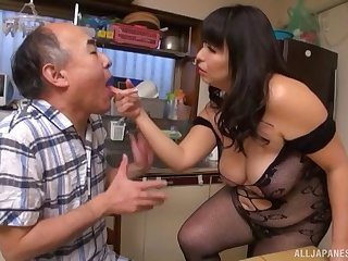 Chubby Japanese girl smothers him with her tits and big ass