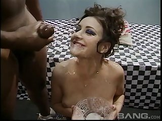 Salacious cum loving brunette gangbanged an gets facialized in a close up shoot