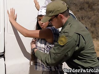 Border patrol agent arrests an immigrant and fucks her in the van