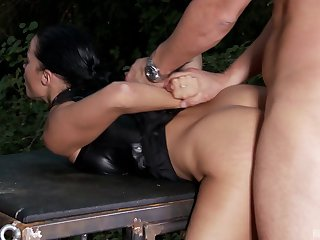 Stunning brunette in latex sucks that monster cock before filling her cunt in pov