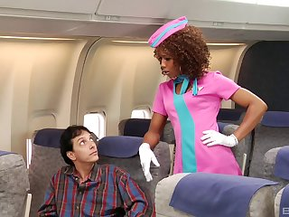 Black stewardess goes home with a guy on the plane to fuck
