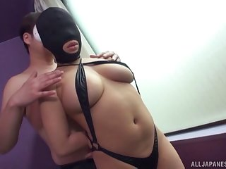 Submissive Asian girl in a mask chokes on cock and gets facialized