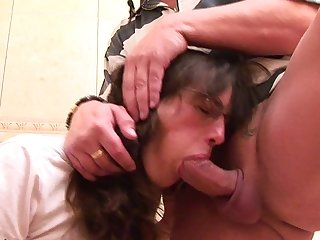 This mature toiletslut gets a mouth full of cock and piss