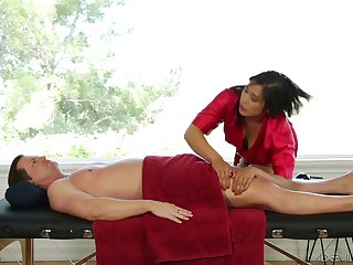 Massaging beauty in satin fucked by her client