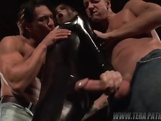 Really kinky whore gets fucked by two blokes