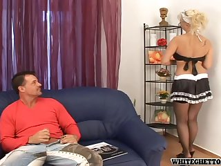 Sexy blond maid Daria gets fucked in her wet pussy
